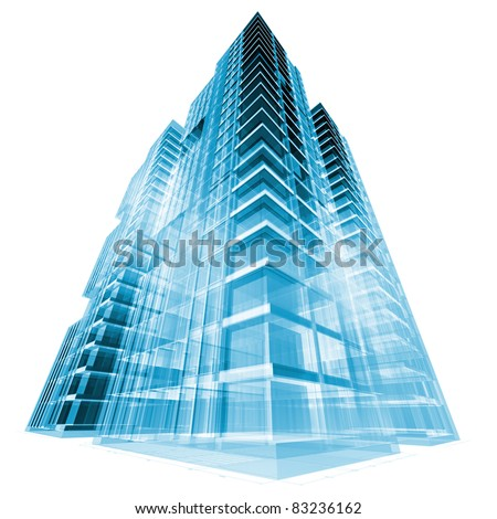 Modern building. 3d render concept - stock photo