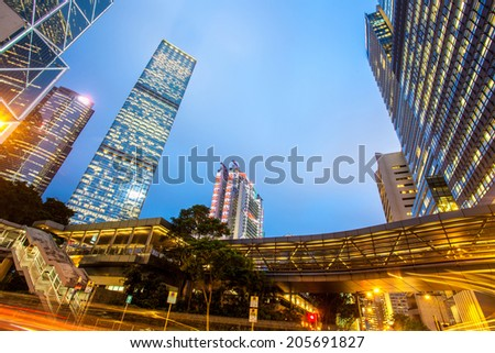 Modern building from low angle at night - stock photo
