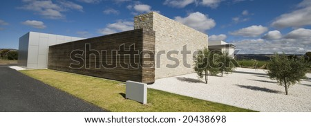 Modern building in countryside - stock photo