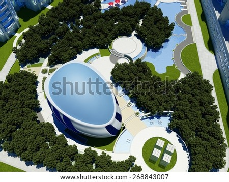 Modern building in the landscape. - stock photo