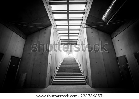 Modern building interior under construction - stock photo