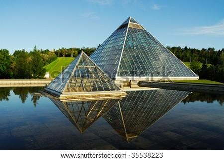 Modern building (muttart conservatory) in Edmonton city, Alberta, Canada - stock photo