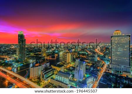 Modern building of Bangkok at twilight scene in Thailand - stock photo