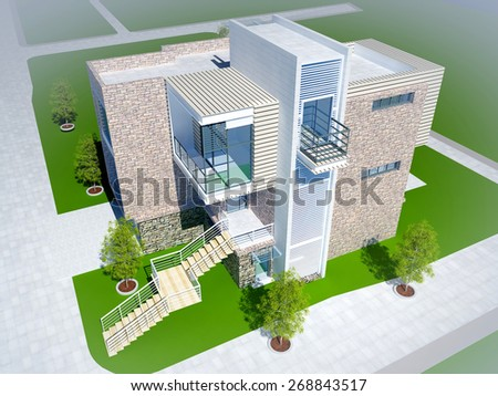 Modern building on the grass. - stock photo