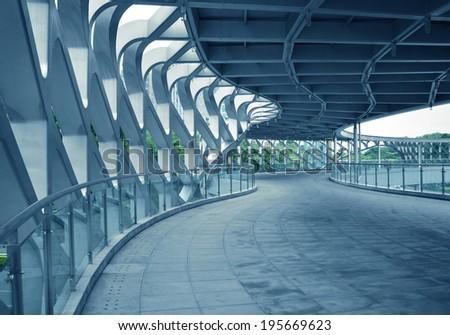 Modern building structures , pedestrian bridges  - stock photo