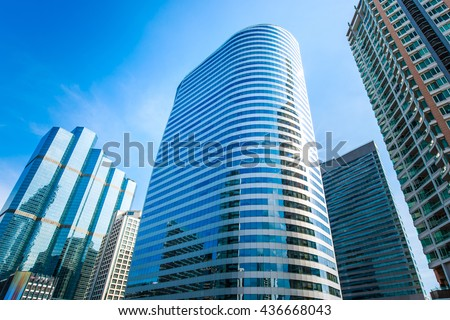 Modern building with blue sky - stock photo