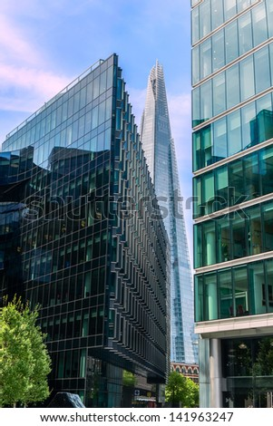 Modern buildings along the river Thames in London - stock photo