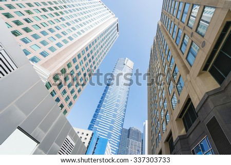 Modern buildings in downtown Melbourne, Australia in daytime - stock photo