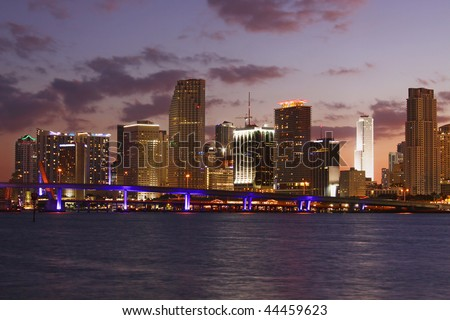 Modern Buildings in Famous travel destination in Miami Beach Florida. Skyscrapers in Downtown at sunset. - stock photo