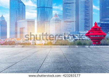 modern buildings in qingdao city - stock photo