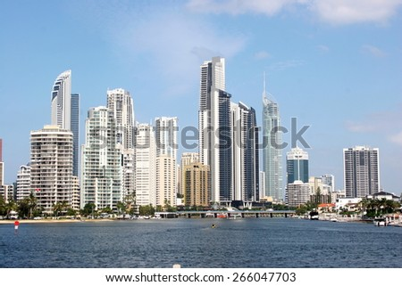 modern buildings in Surfers Paradise, Gold Coast, Australia, view from Nerang River - stock photo