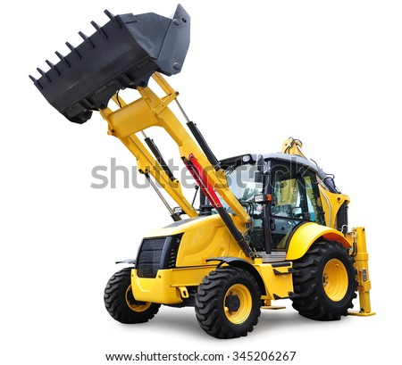 Modern Bulldozer, isolated on white background with shadow and clipping path - stock photo