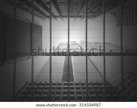 Modern business building glass of skyscrapers, black and white tone, Business concept of architecture - stock photo