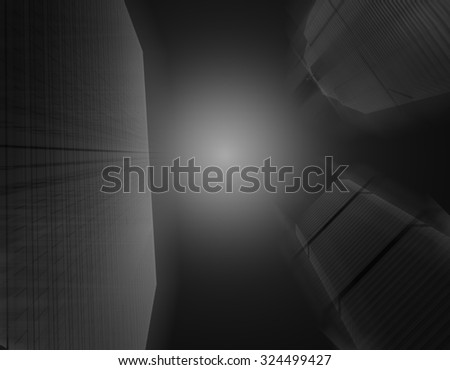 Modern business building glass of skyscrapers on black and white tone in motion blurred, Business concept of architecture - stock photo