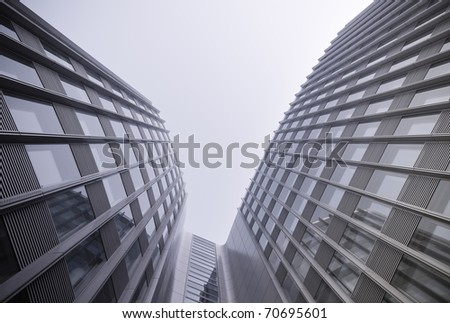 modern business building with reflection - stock photo