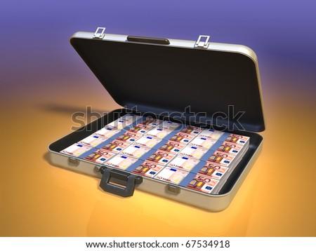 Modern business case full of money. Digital illustration. - stock photo