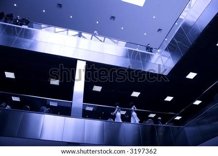 Modern business center interior. Blue tint. - stock photo