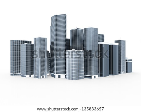 Modern Business City isolated on white background - stock photo
