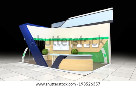 modern business exhibition stand design with blank banner and reception counter - stock photo