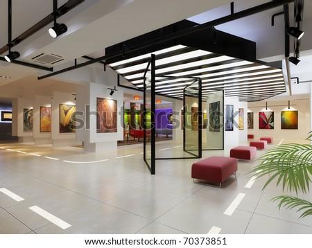 Modern business hall design interior - stock photo