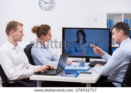 Modern business people meeting during video conference - stock photo
