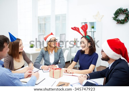 Modern business people working on Christmas day - stock photo