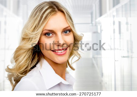 Modern business woman in the office. Copy space - stock photo