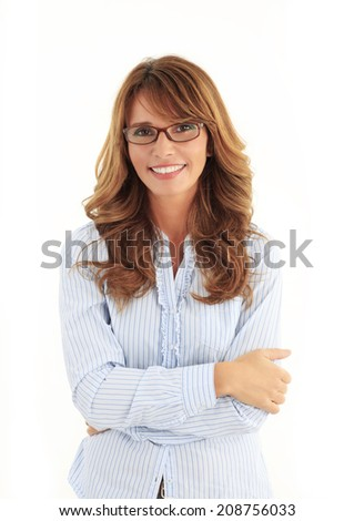 Modern business woman portrait in the office with copy space. White background. - stock photo