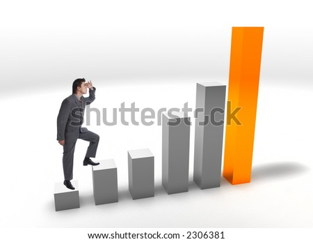 Modern Businessman on a finance bar graphic aiming for the top - stock photo
