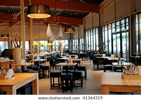 Modern cafe interior - stock photo