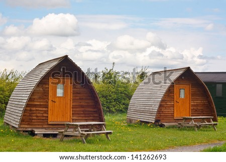 Modern camping tee pees at european camp site in The Yorkshire Dales National Park a contemporary trend called glamping because its more glamourous than the traditional method with all mod cons - stock photo