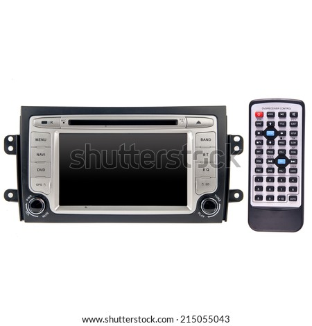 Modern car audio video system - stock photo
