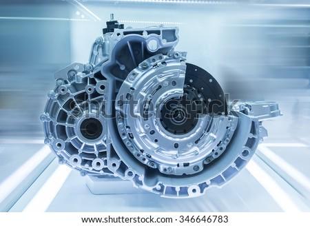modern car engine - stock photo