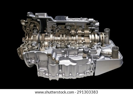 Modern car engine and gear box isolated With clipping path, cross section - stock photo