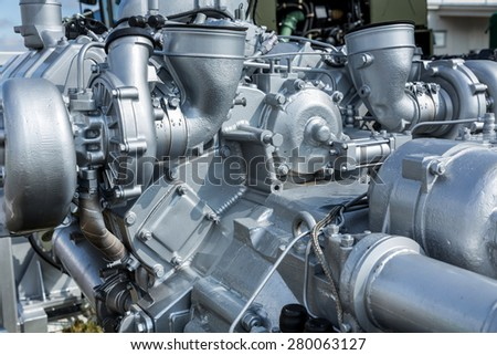 Modern car engine closeup. Fragment of car engine - stock photo