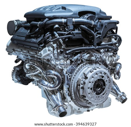 modern car engine isolated on white background - stock photo
