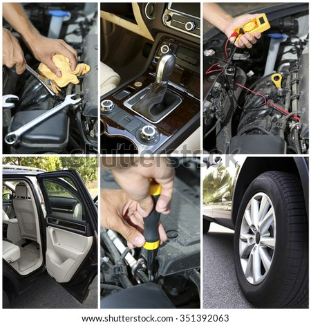 Modern car images and repairing car in details, collage - stock photo