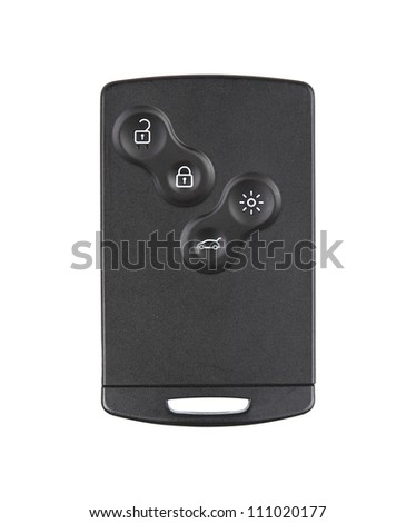 Modern car key isolated on white background - stock photo