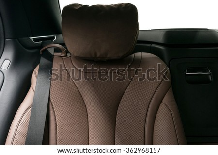 Modern car passenger leather seat. Interior detail. - stock photo