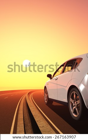 Modern cars on the road. - stock photo