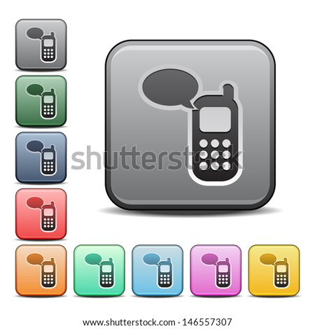 Modern Cell Phone Communication Icon with Color Variations.  Raster version, vector also available. - stock photo