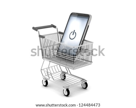 Modern cell phone in shopping cart - stock photo