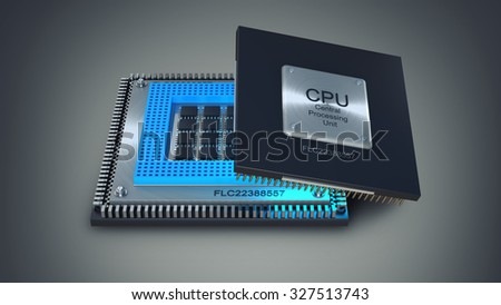 Modern central computer processors CPU on gray background. High resolution 3d render - stock photo