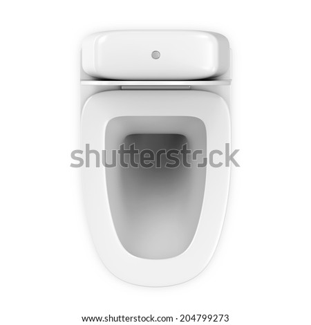 Modern Ceramic Toilet isolated on white background. Top View - stock photo