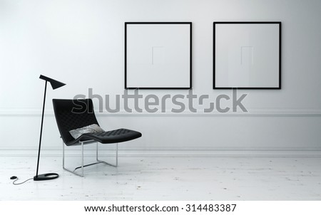 Modern Chair and Floor Lamp in Sparsely Decorated Room with Minimalist Framed Artwork Hanging on Wall. 3d Rendering - stock photo