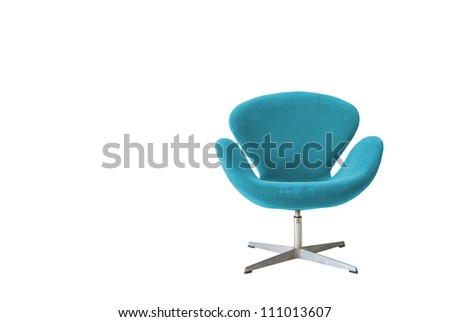 Modern chair in metal and blue fabric - stock photo