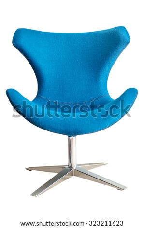 Modern chair in metal and blue fabric isolated on white background - stock photo