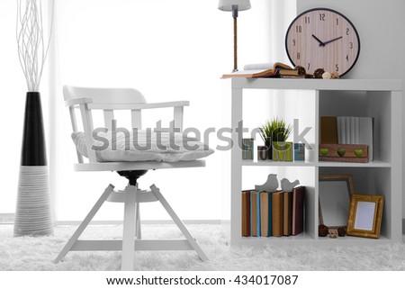 Modern chair in room design interior - stock photo