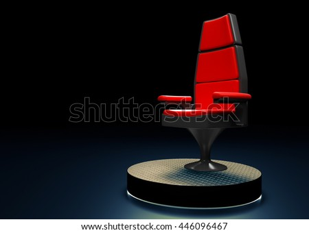 Modern chair on stage in the background 3D rendering. - stock photo