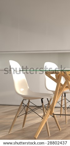 Modern chairs and dining table (3D render) - stock photo